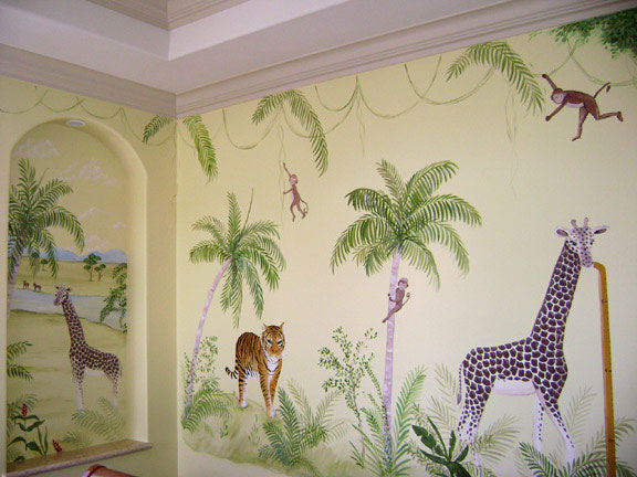 Jungle mural children 39 s nursery jungle murals south florida for Baby jungle mural