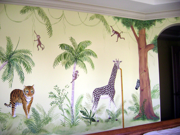 Jungle mural children 39 s nursery jungle murals south florida for Baby jungle safari wall mural
