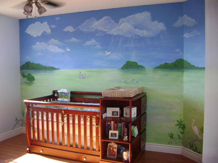 Beach wall murals paradise beach nursery murals and wall for Children room mural