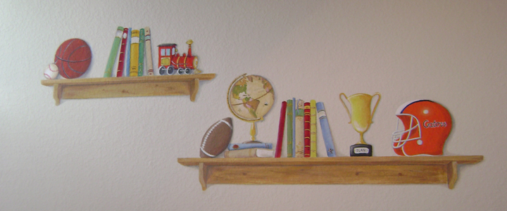 trompe l'oeil book shelf