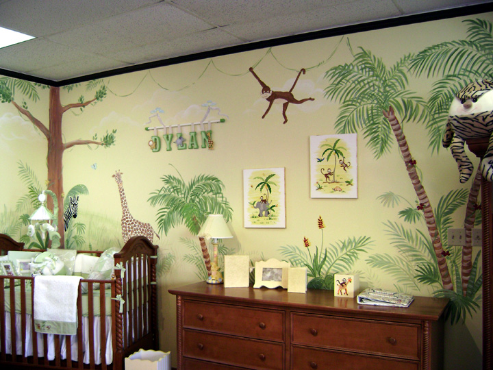 Nursery wall murals kids mural children 39 s wall mural for Baby jungle mural