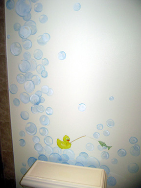 Bubble Bath Children's  Mural With Rubber Duckies