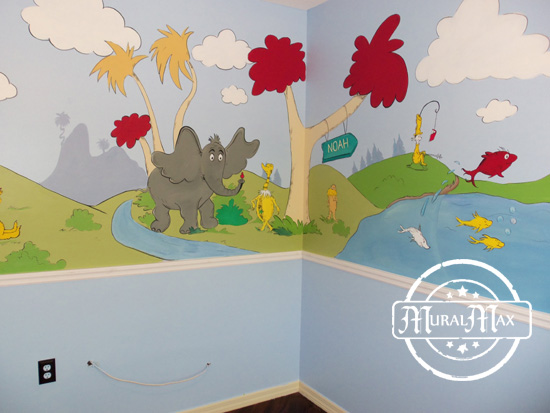 Murals dr seuss cat in the hat and lorax nursery wall for Dr seuss wall mural