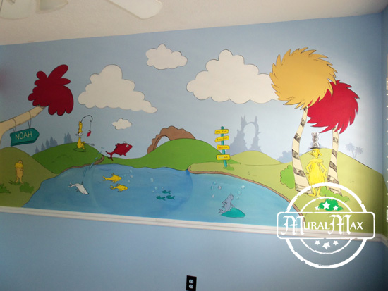 Dr seuss room wallpaper for Dr seuss wall mural