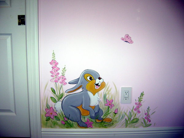 Nursery mural gallery flower fairy mural in south florida for Children room mural
