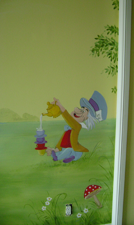 Enchanted Forest Children's Mural -Close up - Nursery design