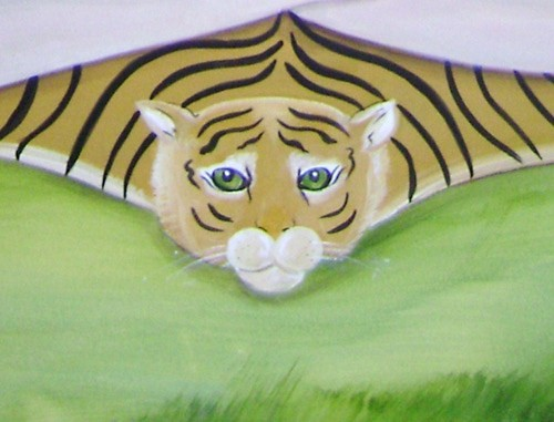 Tiger Close Up - kids room mural