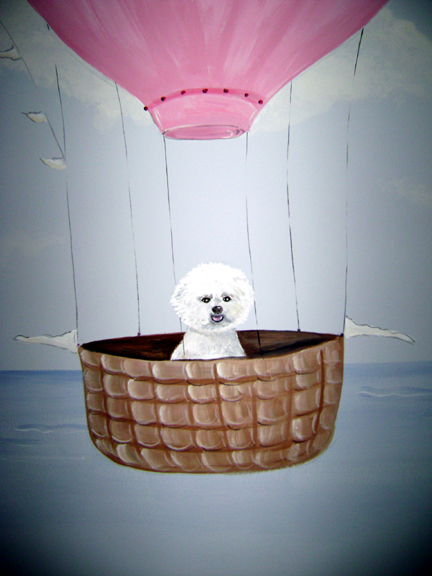 Hot Air Ballon , Sail Boa Mural- Family Dog
