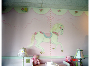 Children 39 s murals decorating ideas for baby toddler for Carousel wall mural