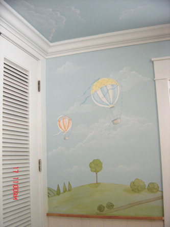 Hot Air Balloon Child Mural