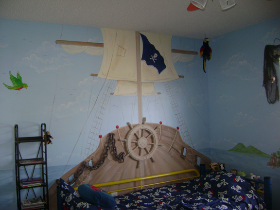 Pirate children 39 s murals children 39 s murals in palm beach for Children wall mural ideas