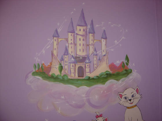 Princess mural murals kids mural children 39 s wall mural for Disney princess castle mural