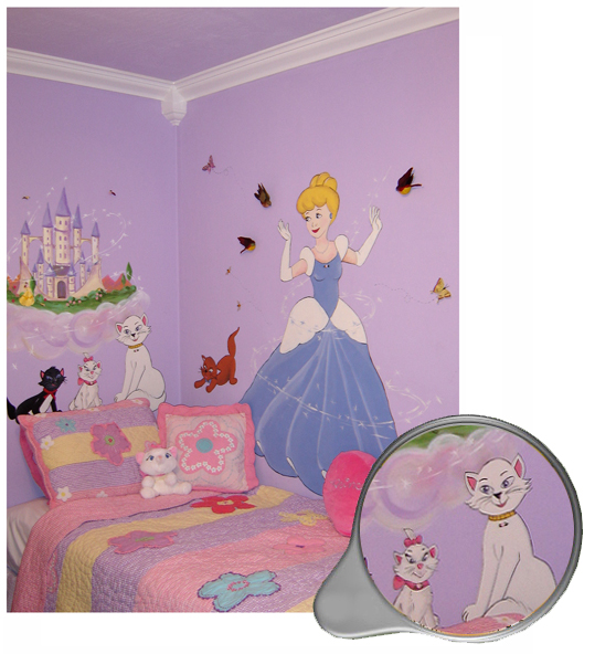 Princess mural murals kids mural children 39 s wall mural for Cinderella castle mural