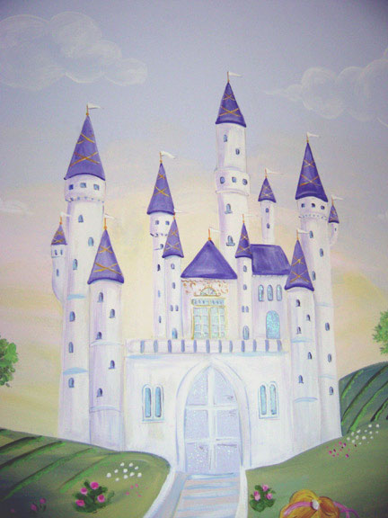 Princess castle painting the image kid for Disney princess castle mural
