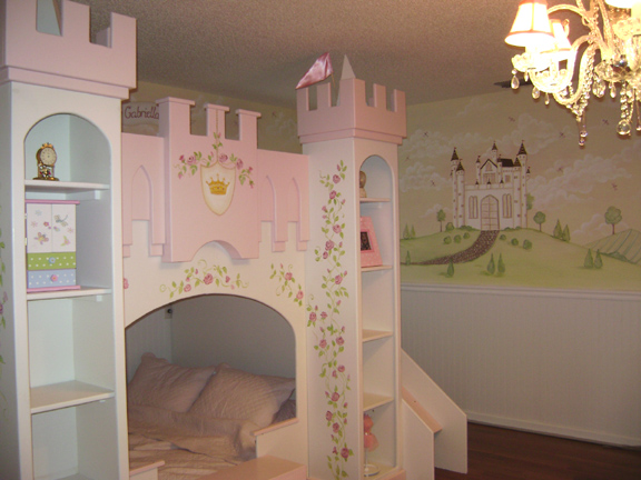 Princess mural murals kids mural children 39 s wall mural for Castle mural kids room