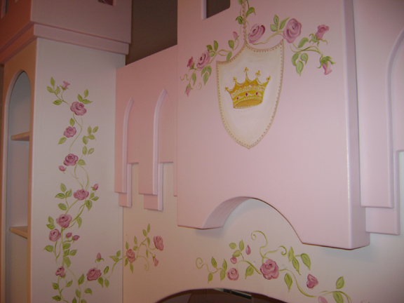 Princess room mural and hand painted furniture