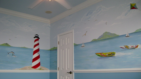 Children's Murals -  Race boat Nautical Theme