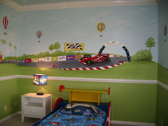 Race car mural by MuralMax Interiors