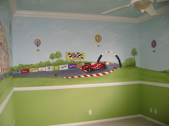 Race car wall mural for decorating boy's rooms
