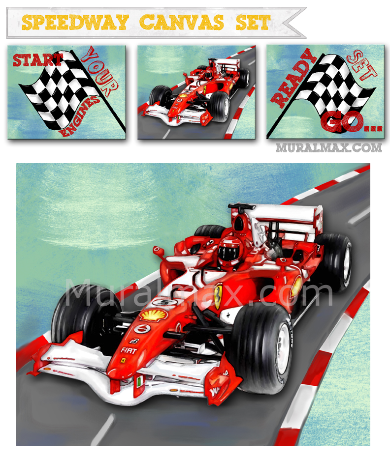 Nice Race Car Nursery Canvas Art , Race Car Wall Hanging, 12x16 Baby Boys Room  Art Part 7