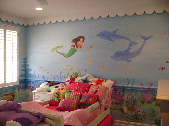 Coral reef mural children 39 s mural mural kids mural for Beach mural bedroom
