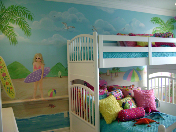 Sassy beach mural children 39 s murals in palm beach county for Beach mural bedroom