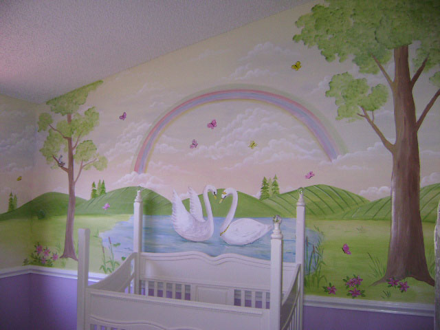 Swan lake children 39 s murals children 39 s murals in palm for Baby girl nursery mural