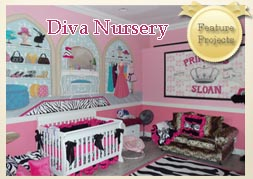 Diva Nursery Decor - Mural for girls