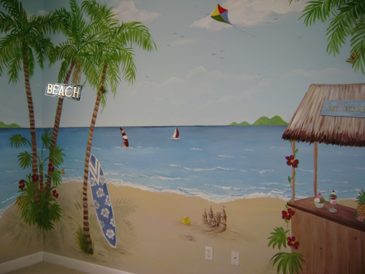 Tropical Beach Children's mural