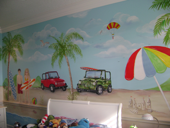 Nursery and children 39 s murals tropical beach muralnursery for Beach mural bedroom