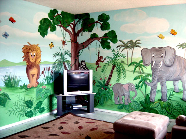 Hand Painted Jungle Wall Mural In South Florida Residence Playroom