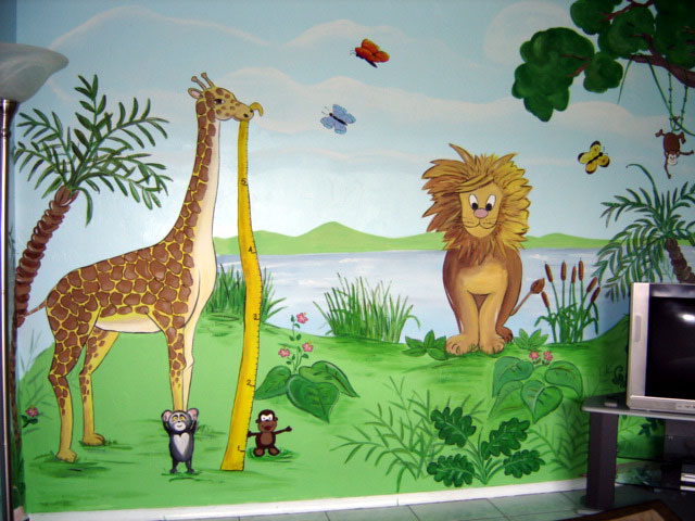 Jungle Mural - Giraffe, Lion